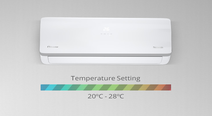At which temperature should I set the air condition unit in order to achieve the best efficiency at the most healthy conditions?